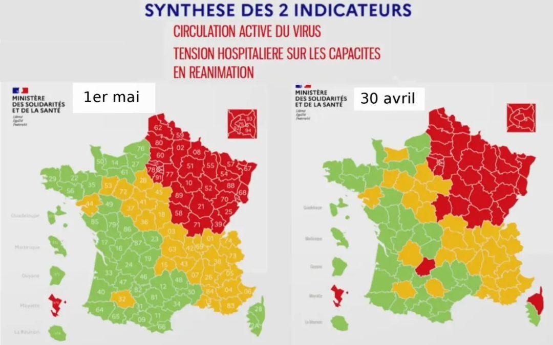 #Coronavirus : 32 départements en rouge, Lot, Cher et Haute-Corse passent au vert sur les cartes rectifiées
