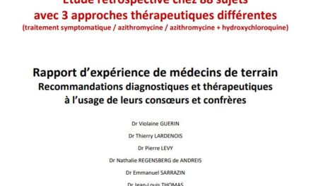 #Covid-19 Rapport étude rétrospective clinique et thérapeutique